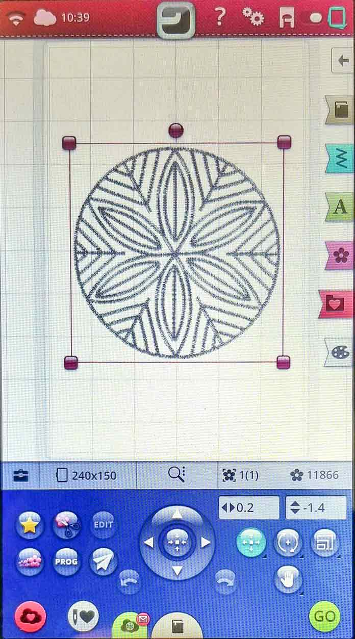 The design is in the embroidery edit screen on the HUSQVARNA VIKING Designer Brilliance 80 sewing machine