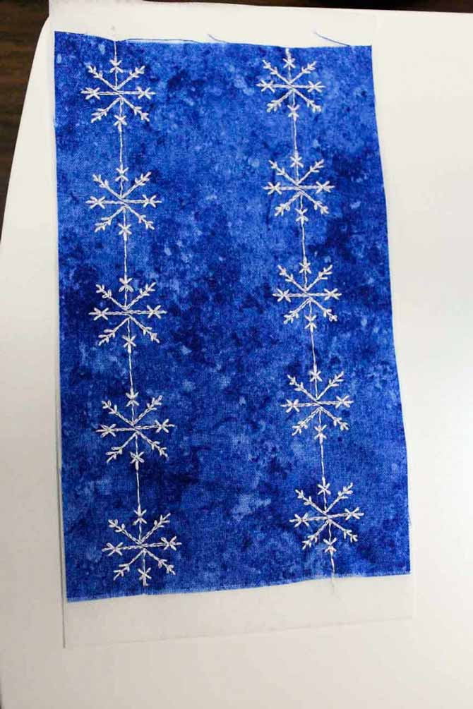 Two rows of snowflakes stitched out