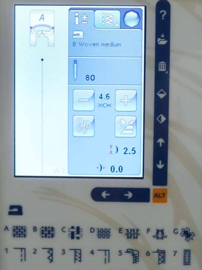Needle position is at center (0.0) on the Interactive Color Touch Screen