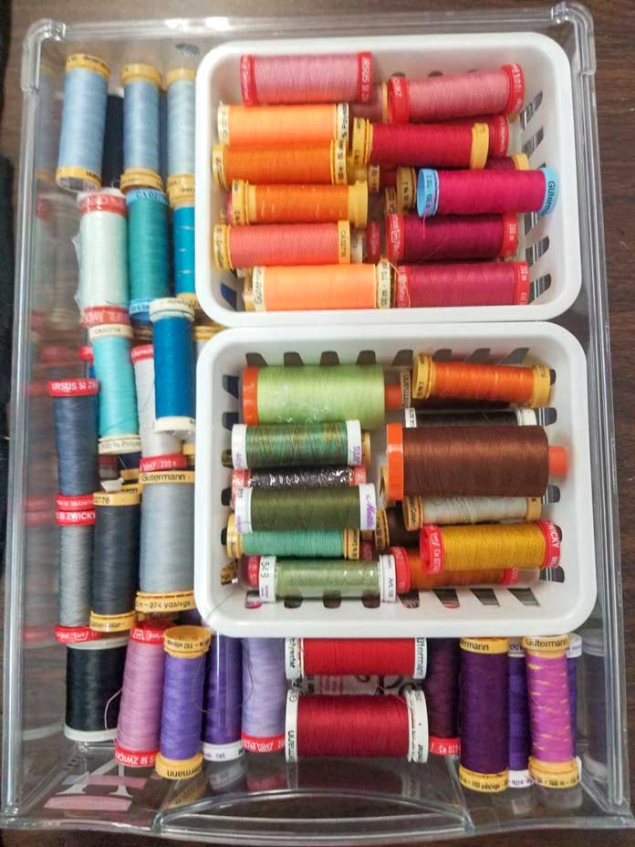 A drawer of 50wt threads used for quilting