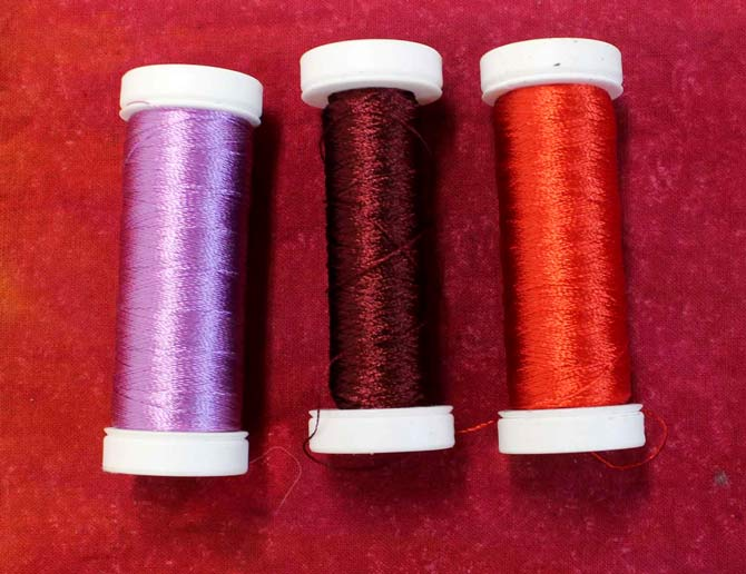 My three thread colors.