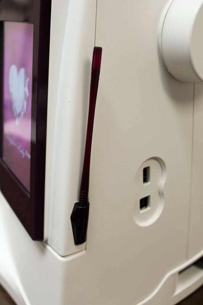 Stylus and USB ports on the Designer Ruby Royale sewing machine