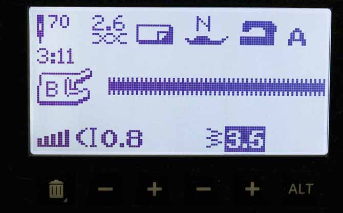 The stitch width for Stitch 3:11 has been changed from the default settings