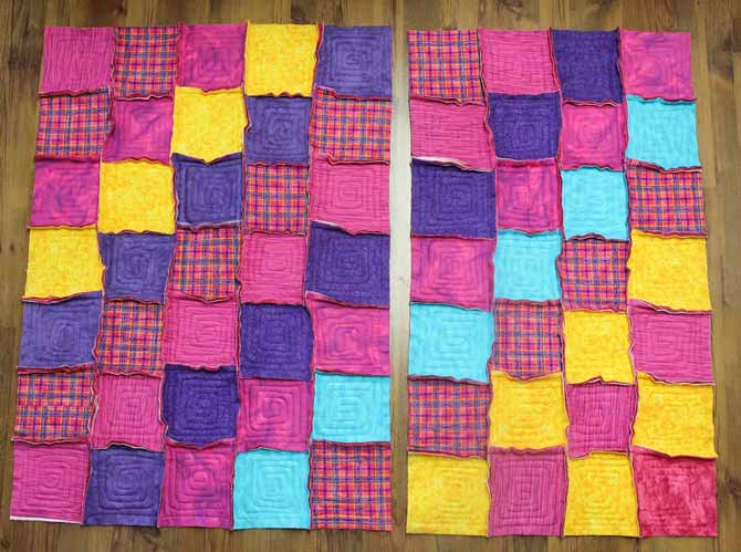 Pairs of rows are now sewn into two quilt halves