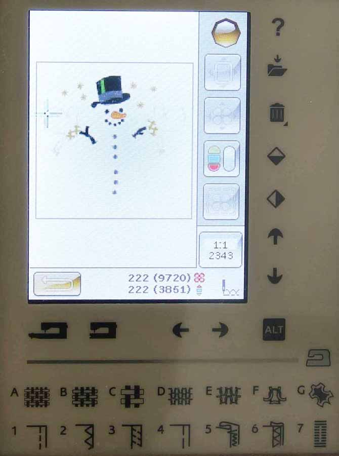 Snowman design in the Stitch out screen