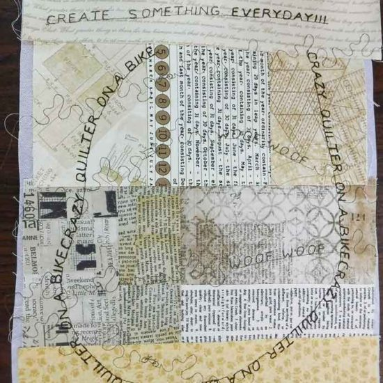 More words stitched in a stitch sequence and the piece rotated while being stitched
