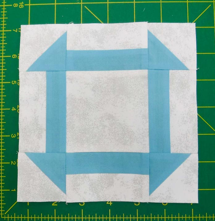 Center block is sewn and unfinished size is 6½""