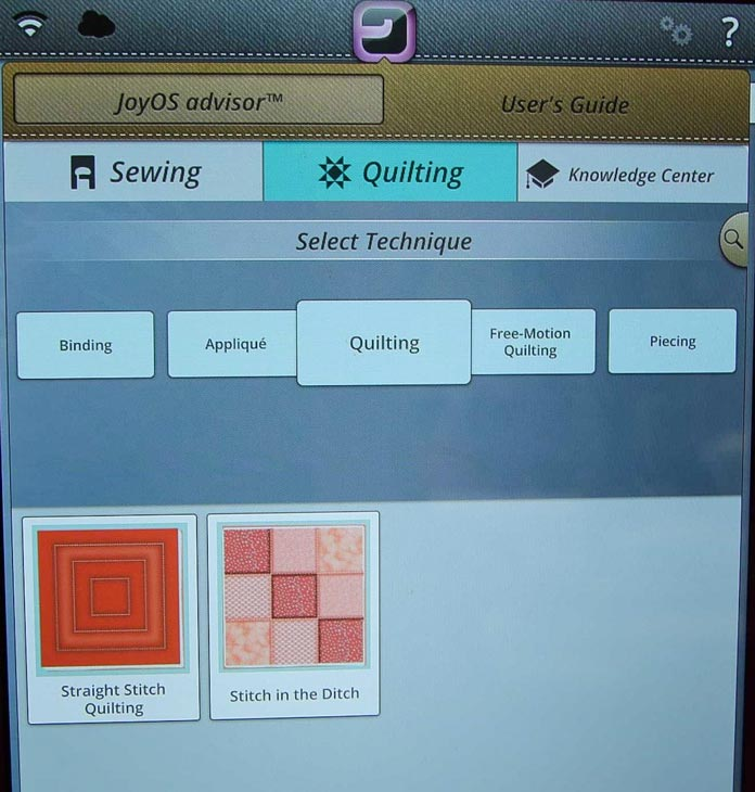 Quilting techniques described in the Joy OS advisor