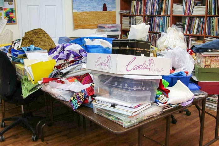 "A common sight in a quilter's studio - the dreaded ""before"" picture"