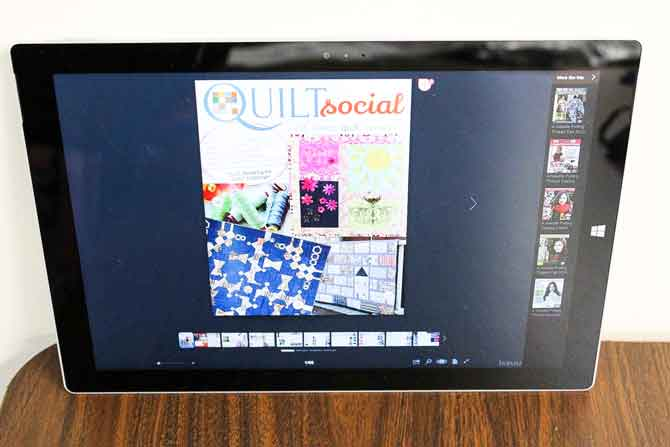 QUILTsocial on a tablet