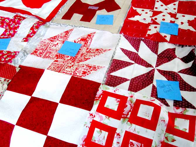Pretty red and white blocks began arriving in the rather dull month of March.