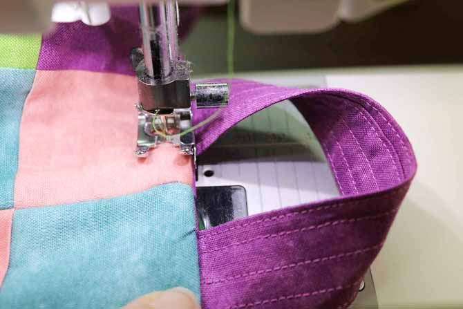 Getting ready to top stitch through all the layers at the side seam