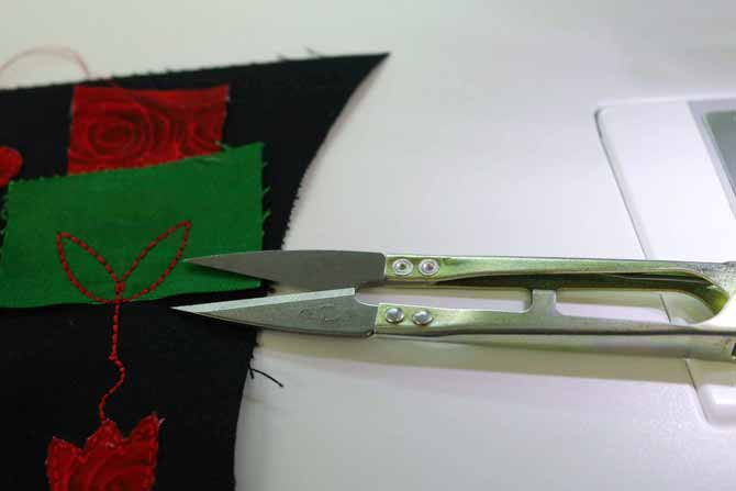 Snips work well to trim away the excess fabric