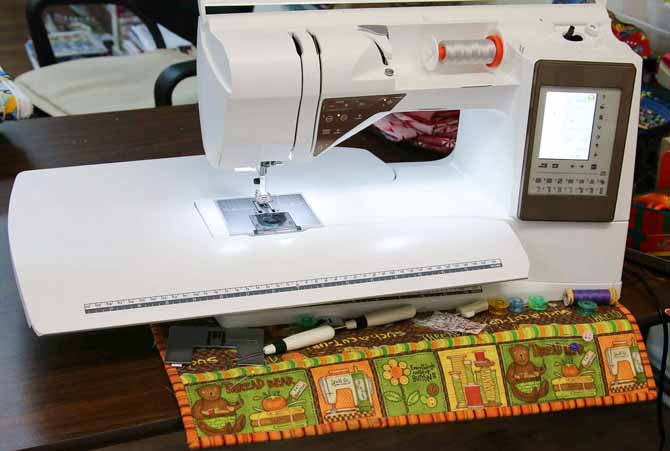 Sewing caddy is slightly askew after sewing a binding on a quilt