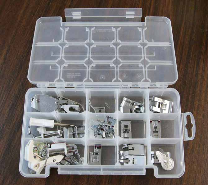 Plastic storage box for presser feet