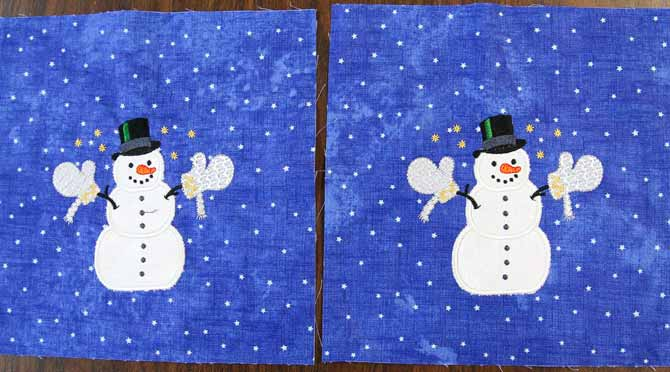 Two finished snowmen stitched out with machine embroidery applique