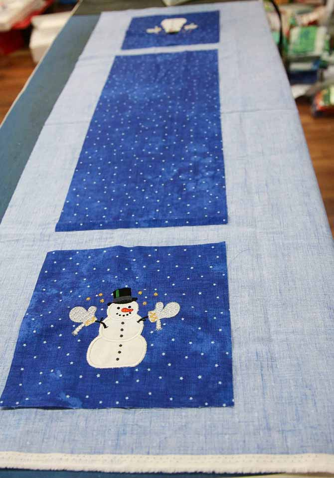 Initial layout for the table runner on the backing fabric