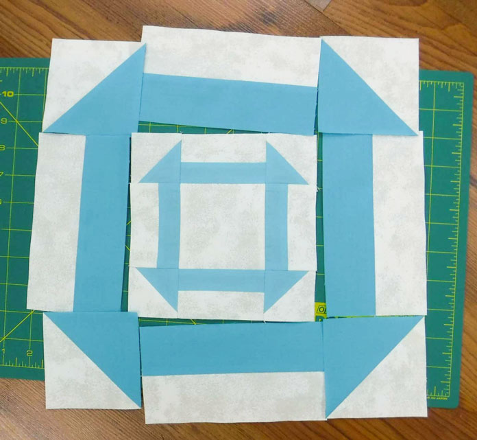 Lay out the pieces for the next churn dash - the first block is the center of the second block