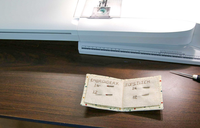 A custom-made needle case for sewing machine needles