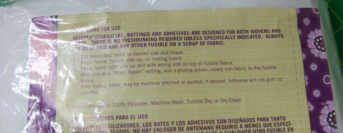 Instructions for fusing the fusible fleece to the fabric