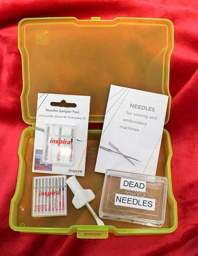 When you outgrow your sewing machine toolbox, keep all your sewing machine needle related things together in one box.