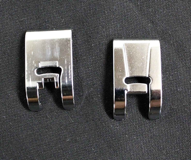 On the left is Utility Foot A and Presser Foot B is on the right. See the wide groove on the bottom of Presser Foot B? that is extremely useful for doing satin stitch or close zigzag.