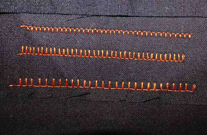 This version of the blanket stitch has only one stitch between the prongs and only one pass of stitching. Like the two previous blanket stitches - every aspect of this stitch can be modified.