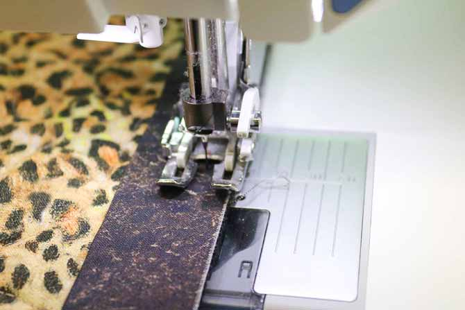 Use a line on the walking foot for a guide for the seam allowance width