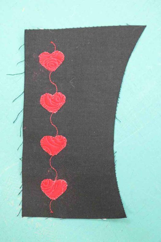 Beautiful row of raw-edge appliqued hearts