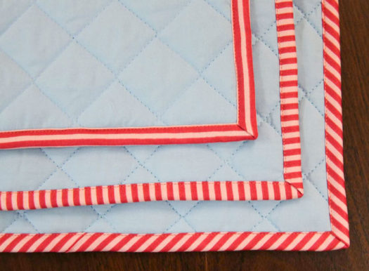 Three different looks for the binding depending on which direction the binding strips were cut