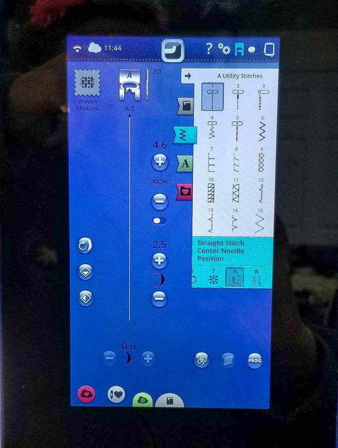 The stitch screen on the Designer Brilliance 80