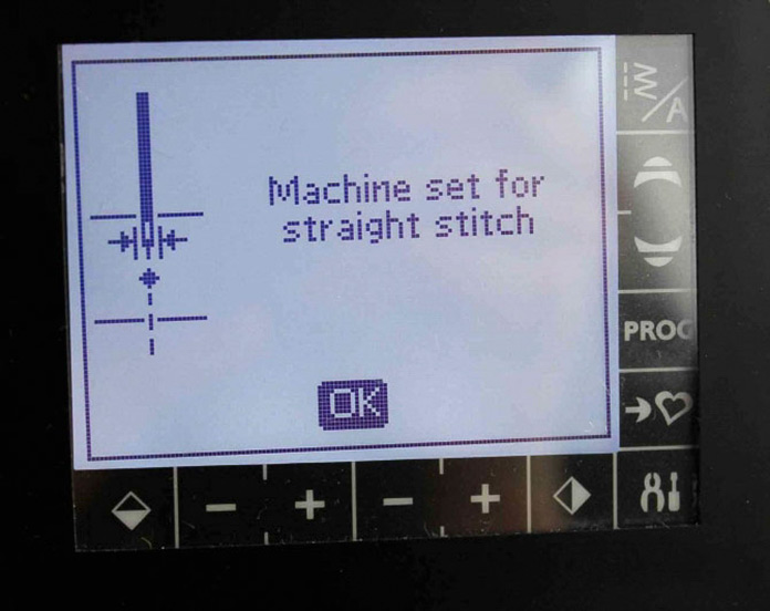 If this safety feature is engaged, this is the pop up message you'll get if you try to use a stitch other than the straight stitch. You also get this message if you try to move the needle left or right. This is certainly an excellent feature if you want to use the single hole throat plate or you are using a presser foot with a single hole. This feature will stay programmed until you change the setting, even if you shut off the machine.