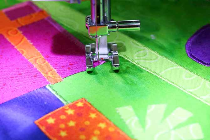 Rotate the project 45 degrees to take a stitch