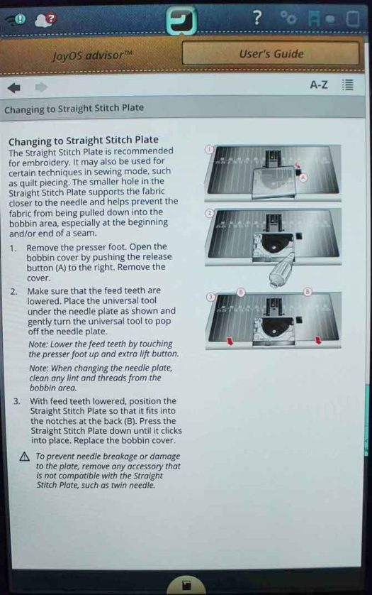 Complete instructions for Changing to Straight Stitch Plate