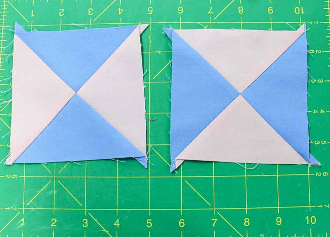 Two untrimmed quarter square triangles