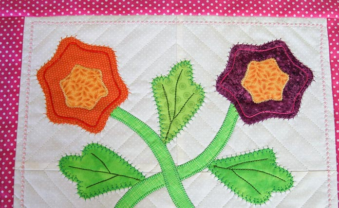 Detail of different stitches used on the second applique block
