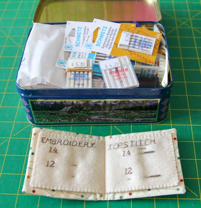 Storage tin for sewing machine needles and a needlecase for partially used needles