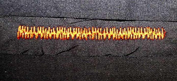 "This version of the ""grass"" satin stitch has TWO jagged edges. The width and density can be modified."