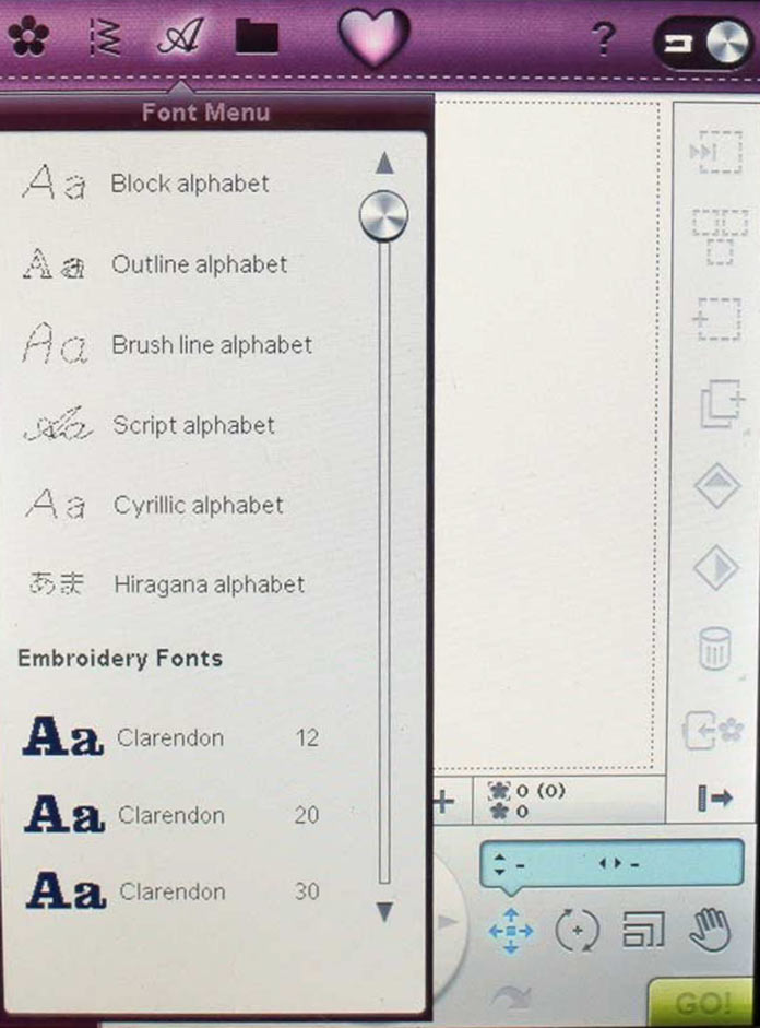 The Font Menu in Embroidery Mode