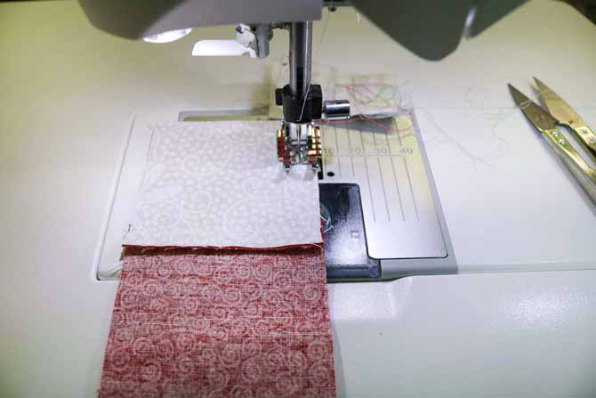 Stop about one inch from the intersection so you can line up the two seams