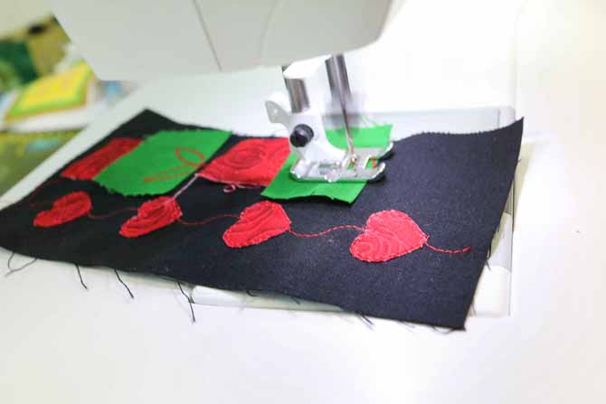 Stitching a second row of the dimensional stitches