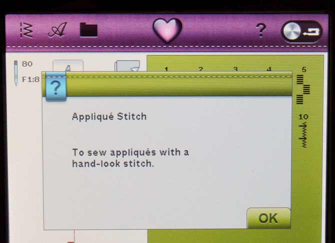 Another pop-up Quick Help box describing one of the applique stitches.