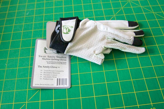 A pair of quilting gloves