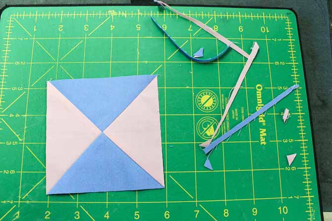 Trimmed quarter square triangle