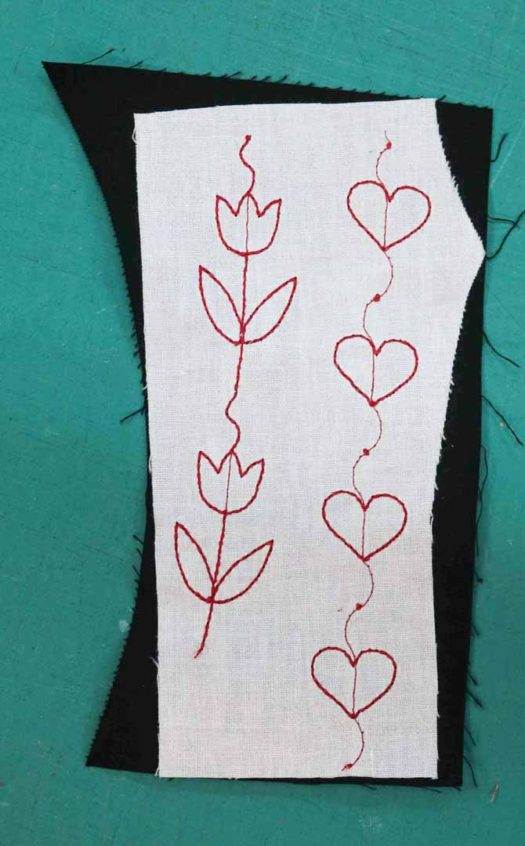 Fusible interfacing used to stabilize the stitches