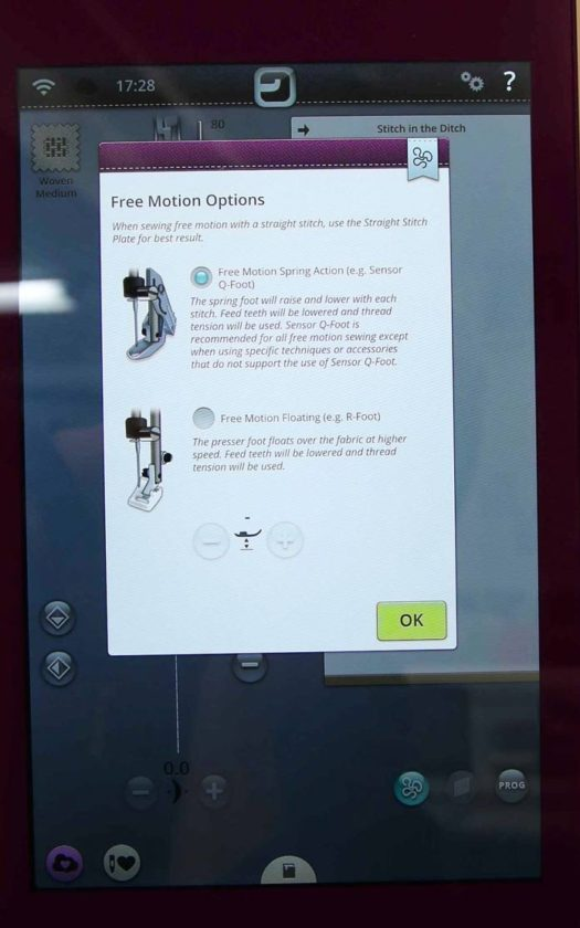 Free Motion Options on the interactive touchscreen