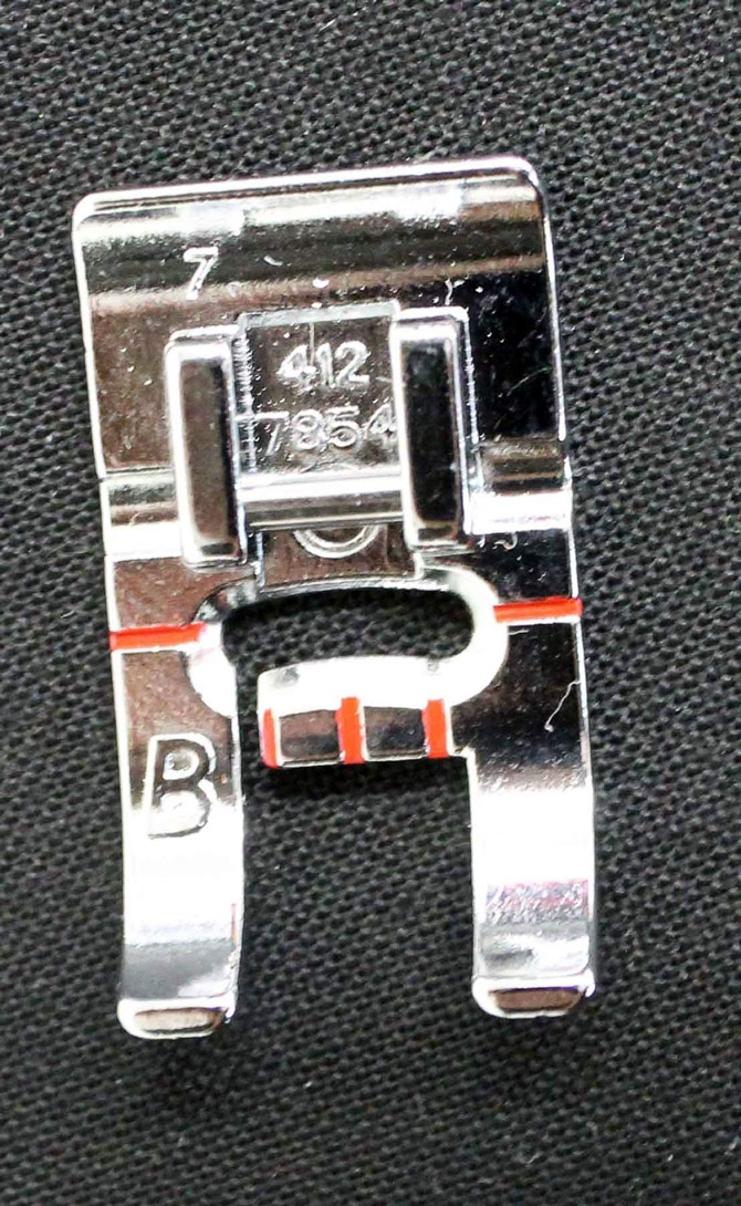 Presser Foot B - used for any stitch that requires extra height to accommodate the thickness of the stitch such as a satin stitch