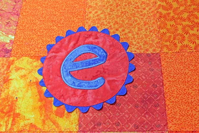 The completed monogrammed applique
