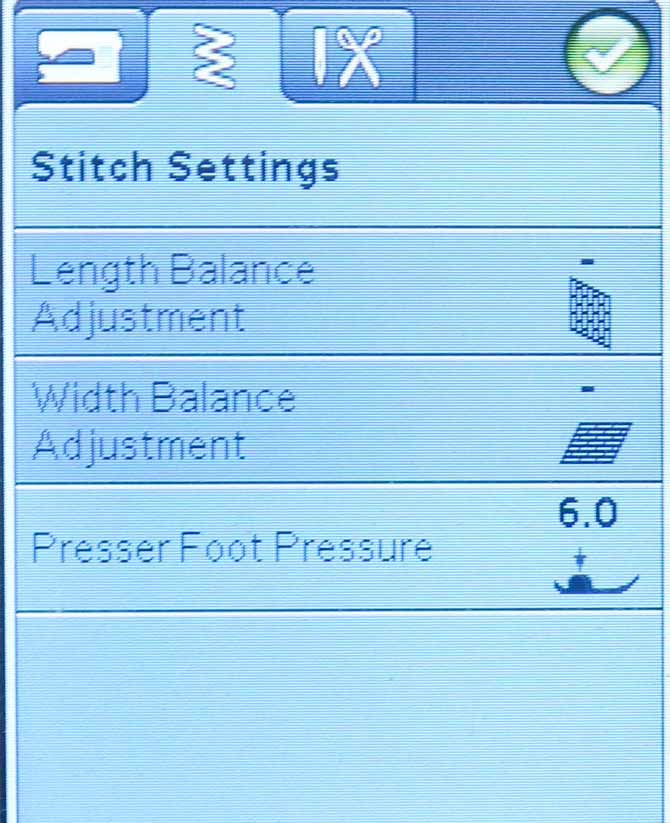 Stitch Settings Menu