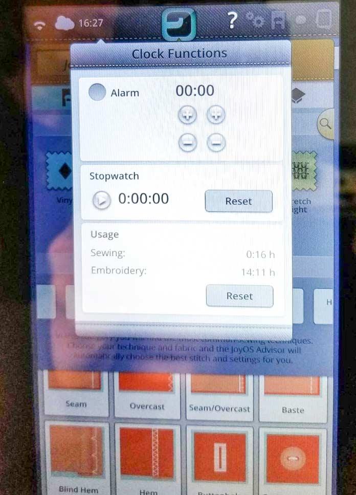 Clock functions menu